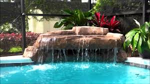 Diy Pool Waterfall Interior Extraordinary Pool And Outdoor Entertainment Rock