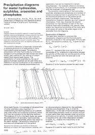 Metal Precipitation Ph Chart Pdf Precipitation Diagrams For Metal Hydroxides Sulfides