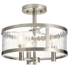 Kichler Marita 13 In W Brushed Nickel Clear Glass Semi Flush Mount Light