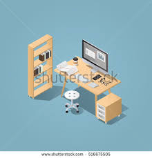 isometric office furniture vector collection. office workplace vector isometric concept illustration work table composition with chair books furniture collection o