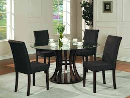 Stunning Round Glass Dining Table Set With White Cabinet