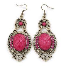 victorian style magenta acrylic bead crystal chandelier earrings in antique gol