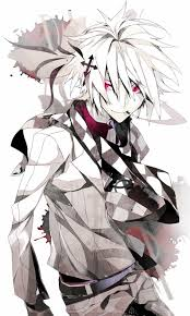 white hair red eyes male solo page