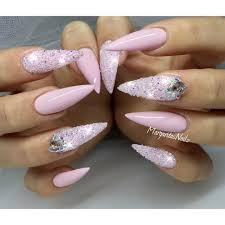 Baby pink stiletto nails Swarovski crystal pixie summer 2016 nail ...