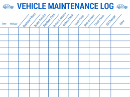 Vehicle Maintenance Log Template Business
