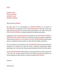 Letters Of Recommendation Templates For Teachers 009 Letter Of Recommendation Template For Teacher Wonderful