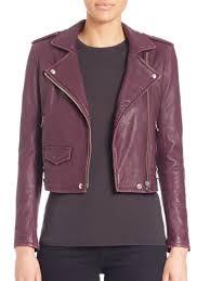 iro ashville leather moto jacket dark plum women s jackets vests faux 100 authentic