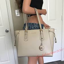 nwt michael kors oat cream leather shoulder bag tote handbag purse
