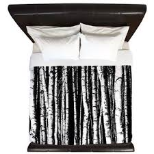black and white birch trees king duvet