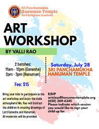 Art Workshop Flyer For Mela Sri Panchamukha Hanuman Temple