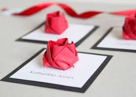 Wedding Origami Rose Square Place Cards X 50 42 00 Via Etsy