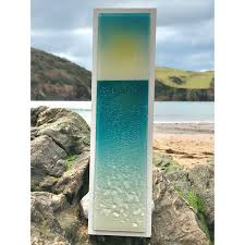 sunset on the sea fused glass wall panel