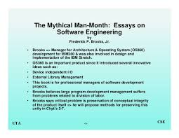 mythical man month essays on software engineering  1 uta cse the mythical man month essays on software engineering by