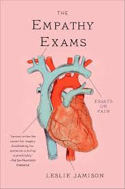 shelved books the empathy exams as a nod to the medical part of the essay a graphic illustration of a heart is used