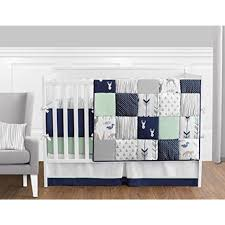 9 piece navy bedding sets blue mint and grey woodsy deer boys baby crib