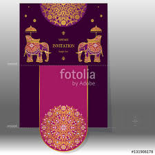 indian wedding invitation card templates with gold elephant patterned and crystals on paper color