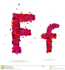 Letter F Made From Hearts Love Alphabet Stock Vector Illustration
