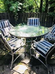 6 pc glass top patio dining set w etched leaves in the glass beautiful for in portland or offerup