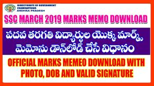 Ssc 10th Class March 2019 Marks Sheet Memorandum Download