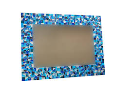 Marvellous Design Blue Bathroom Mirror Etsy Uk Mosaic Bluetooth