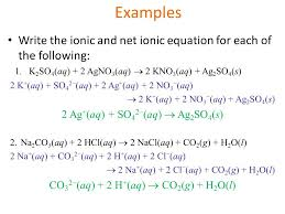 examples write the ionic and net ionic equation for each of the following 1
