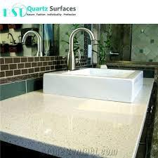 iced white quartz bathroom countertop