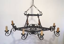 large wrought iron chandelier 1950s