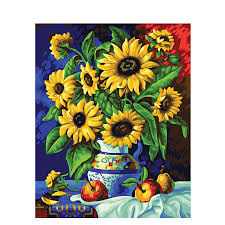 sunflowers canvas diy paint by numbers wall art on sunflower wall art canvas with sunflowers canvas diy paint by numbers wall art pickfo