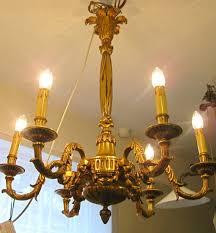 a late victorian six arm brass chandelier