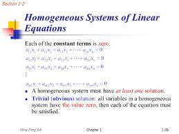 geneous systems of linear equations