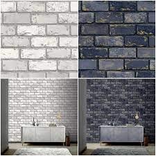 3D Effect Metallic Brick Wallpaper Navy ...