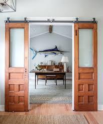 office barn doors. Design Ideas: Sliding Barn Door Separates The Home Office From Small Bathroom Doors R