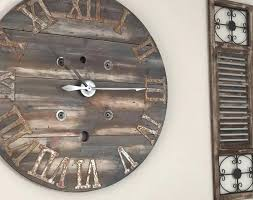 oversized rustic wall clocks large rustic spool wall clock w custom ordered roman numerals by on extra