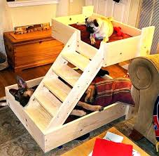 elevated dog bed plans wood wood dog beds wood dog bed with stairs elevated wood dog