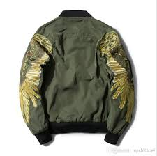 new hot 2018 leather jacket embroidery gold wings pu mens women jackets ma 1 stand collar fashion outwear men coat er jacket biker jacket brown leather