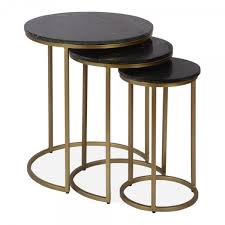 cult living madison nesting side tables black marble top brass