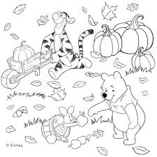 Small Picture Winnie the Pooh and Friends Fall Coloring Page Disney family