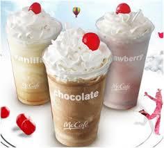 milkshakes from fast food chains