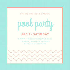 Simple Aqua Salmon Pool Party Invitation - Templates By Canva