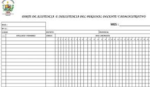 formato de asistencias formatos de asistencia del personal docente y administrativo ugel