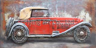 3d metal wall decor oil painting for car