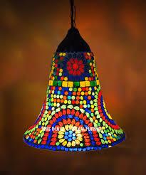 mosaic glass traditional bell shaped pendant light fixture lamp shade royalfurnish com