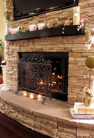 stacked stone fireplace design ideas