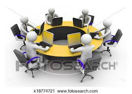 3d business people working together at desk in office round table conference