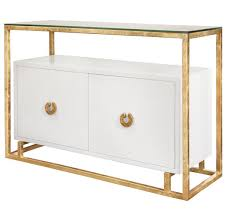 Worlds Away Juno White/Gold Floating Cabinet Console | Matthew Izzo