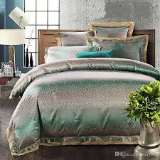 luxury green jacquard tribute silk queen king size bedding sets 4 le satin duvet quilt cover sets bedclothes bed sheet home textile red and white duvet