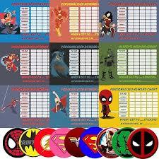 Super Hero Bundle Reusable Behaviour Reward Charts Free