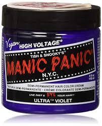 Manic Panic Hair Colour Chart Manic Panic Classic Semi Permanent Hair Dye 118ml Ultra Violet