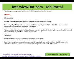 Sample Weaknesses For Interview Good Weakness Resume Pelosleclaire Com