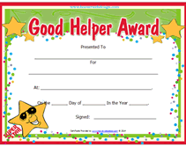 Best Teacher Certificate Templates Free Free Printable Good Helper Awards Certificates